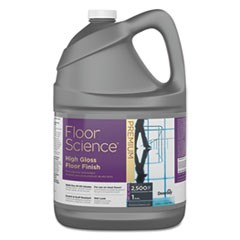 Floor Science Premium High Gloss Floor Finish, Clear Scent, 1 gal Container,4/CT