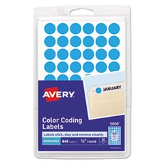 "Handwrite Only Self-Adhesive Removable Round Color-Coding Labels, 0.5"" dia., Light Blue, 60/Sheet, 14 Sheets/Pack, (5050)"