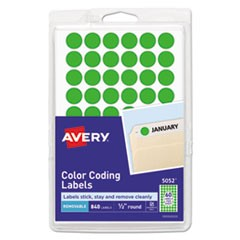 "Handwrite Only Self-Adhesive Removable Round Color-Coding Labels, 0.5"" dia., Neon Green, 60/Sheet, 14 Sheets/Pack, (5052)"