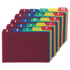 Durable Poly A-Z Card Guides, 1/5-Cut Top Tab, A to Z, 4 x 6, Assorted Colors, 25/Set