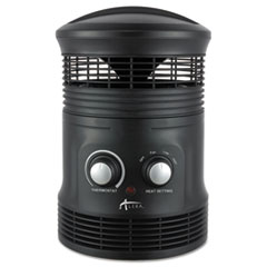 "360 Deg Circular Fan Forced Heater, 8"" x 8"" x 12"", Black"