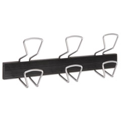 "Wall-Mount Coat Hooks, Metal, Silver, 22 lb, 18.11"" x 2.95"" x 6.45"""