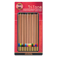 Tri-Tone Color Pencils, 3.8 mm, 12 Assorted Colors/Set