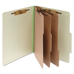 Pressboard Classification Folders, 3 Dividers, Letter Size, Leaf Green, 10/Box