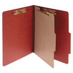 Pressboard Classification Folders, 1 Divider, Legal Size, Earth Red, 10/Box