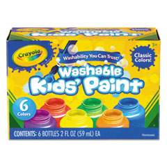 Washable Paint, 6 Colors, Blue/Green/Orange/Red/Violet/Yellow, 2 oz
