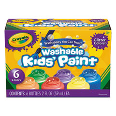 1Washable Paint, 6 Colors, Blue/Green/Orange/Purple/Red/Yellow, 2 oz