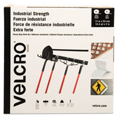 "Industrial-Strength Hook & Loop Fasteners, 2"" x 49 ft, White"