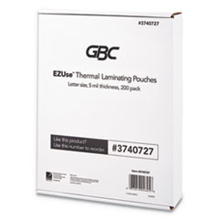 "EZUse Thermal Laminating Pouches, 5 mil, 8 1/2"" x 11"", Clear, Glossy, 200/PK"