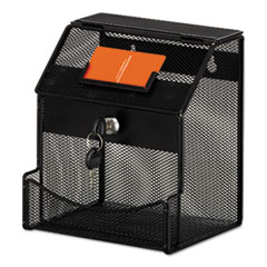 1Onyx Mesh Collection Box, 7 1/4 x 8 1/2 x 6, Steel, Black