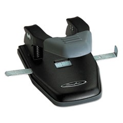 "128-Sheet Comfort Handle Steel Two-Hole Punch, 1/4"" Holes, Black/Gray"