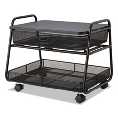 Onyx Under Desk Machine Stand, 2 Shelves, 21w x 16d x 17.5h, Black, 100 lbs Cap.