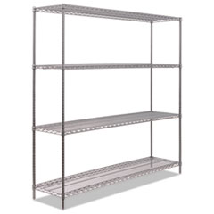 "BA Plus Wire Shelving Kit, 4 Shelves, 72"" x 18"" x 72"", Black Anthracite Plus"