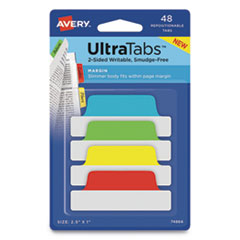 "Ultra Tabs Repositionable Margin Tabs, 1/5-Cut Tabs, Assorted Primary Colors, 2.5"" Wide, 48/Pack"