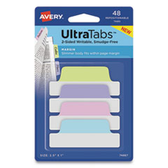 "Ultra Tabs Repositionable Margin Tabs, 1/5-Cut Tabs, Assorted Pastels, 2.5"" Wide, 48/Pack"