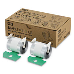 "Staple Refills No.110FE, 0.56"" Leg, 0.5"" Crown, Silver, 4,000/Cartridge, 2 Cartridges/Box, 8,000/Box"