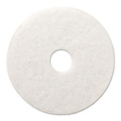 "Polishing Floor Pads, 17"" Diameter, White, 5/Carton"