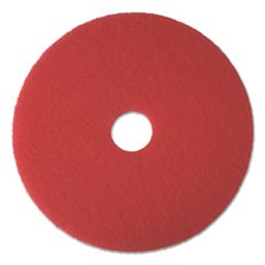 "Buffing Floor Pads, 17"" Diameter, Red, 5/Carton"