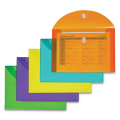 Reusable Poly Envelope, Hook and Loop Closure, 8.5 x 11, Assorted, 10/Pack
