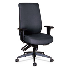 Alera Wrigley Series 24/7 High Performance High-Back Multifunction Task Chair, Up to 300 lbs., Black Seat/Back, Black Base