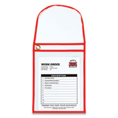 1-Pocket Shop Ticket Holder w/Strap and Red Stitching, 75-Sheet, 9 x 12, 15/Box