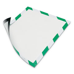 "DURAFRAME Security Magnetic Sign Holder, 8 1/2"" x 11"", Green/White Frame, 2/Pack"