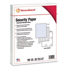 Standard Medical Security Paper, Blue, 6 Features, 8 1/2 x 11, 500/Ream