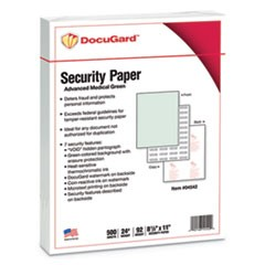 Advanced Medical Security Paper, Green, 7 Features, 8 1/2 x 11, 500/Ream