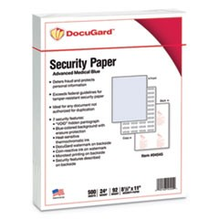 DocuGard Security Paper, 24lbs, 8-1/2 x 11,Blue, 500/Ream