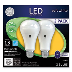 LED Soft White A21 Dimmable Light Bulb, 12 W, 2/Pack