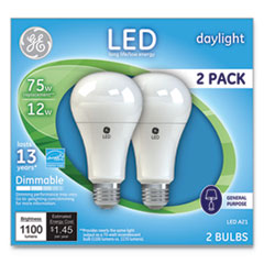 LED Daylight A21 Dimmable Light Bulb, 12 W, 2/Pack