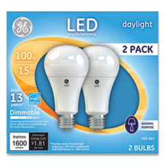 LED Daylight A21 Dimmable Light Bulb, 15 W, 2/Pack