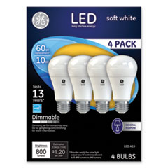 LED Soft White A19 Dimmable Light Bulb, 10 W, 4/Pack