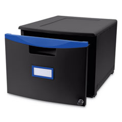 Single-Drawer Mobile Filing Cabinet, 14 3/4w x 18 1/4d x 12 3/4h, Black/Blue