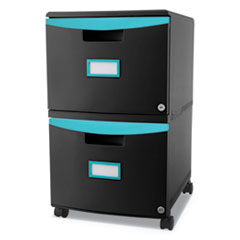 Two-Drawer Mobile Filing Cabinet, 14 3/4w x 18 1/4d x 26h, Black/Teal