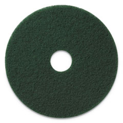 "Scrubbing Pads, 14"" Diameter, Green, 5/CT"
