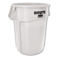 Vented Round Brute Container, 44 gal, White, Resin, 4/Carton