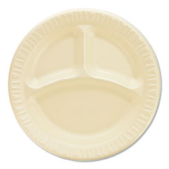 "Quiet Classic Laminated Foam Dinnerware, Compartment Plate, 9"" Diameter, 500/CT"