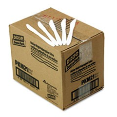 Plastic Cutlery, Mediumweight Knives, White, 1,000/Carton