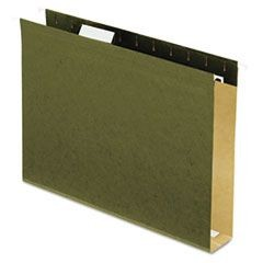 "Reinforced 2"" Extra Capacity Hanging Folders, 1/5 Tab, Letter, Green, 25/Box"