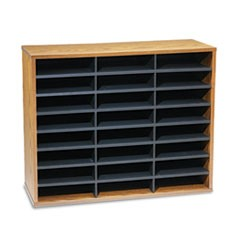 Literature Organizer, 24 Letter Sections, 29 x 11 7/8 x 23 7/16, Medium Oak