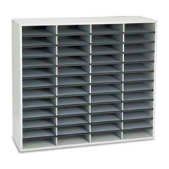 Literature Organizers, 48 Sections, 38 1/4 x 11 7/8 x 34 11/16, Dove Gray