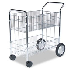 Wire Mail Cart, 21.5w x 37.5d x 39.25h, Chrome