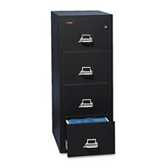 Four-Drawer Vertical File, 17 3/4w x 31 9/16d, UL 350� for Fire, Letter, Black