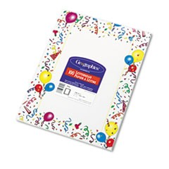 Design Paper, 24 lbs., Party, 8 1/2 x 11, White, 100/Pack