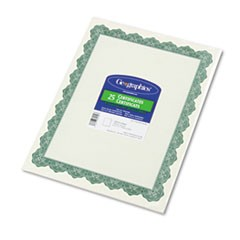 1Parchment Paper Certificates, 8-1/2 x 11, Optima Green Border, 25/Pack