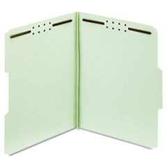 "Earthwise Heavy-Duty Pressboard Folders, 1/3 Cut, Letter, Green, 2"" Exp., 25/Box"