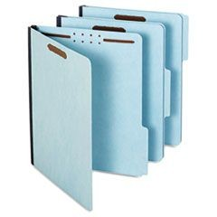 Earthwise Heavy-Duty Pressboard Folders, 1/3 Cut Tab, Letter, Light Blue, 25/Box