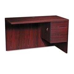10500 Series L Workstation Return, 3/4 Height Right Ped, 48w x 24d, Mahogany