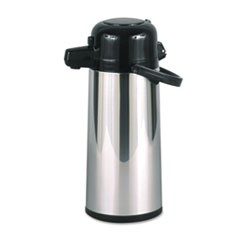 1Commercial Grade 2.2L Airpot, w/Push-Button Pump, Stainless Steel/Black